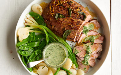 Rôti de Porc, sauce au cresson et légumes printaniers